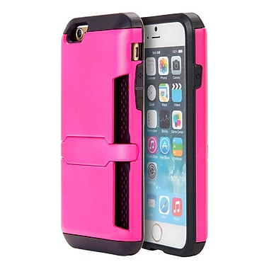 Insten Hybrid Hard PC/TPU Dual Layer Clip Card Case with Lock Stand For Apple iPhone 6s Plus / 6 Plus - Hot Pink/Black