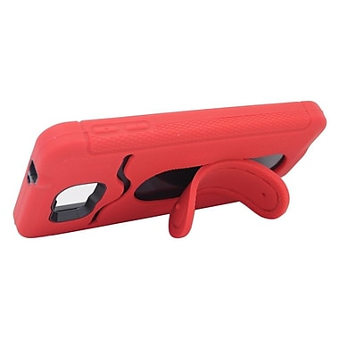Insten Soft Dual Layer Rubber Hard Case with Stand & Card slot For Samsung Galaxy Alpha - Red/Black
