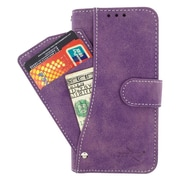 Insten Flip Leather Fabric Cover Case Pocket wallet w/card slot For HTC Desire 520 - Purple