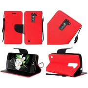 Insten Book-Style Leather Case Stand Cover For LG K7 / Tribute 5 - Red/Black