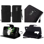 Insten Book-Style Leather Case Stand Cover For LG K7 / Tribute 5 - Black