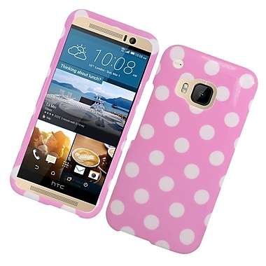 Insten Polka Dots Hard Rubber Cover Case For HTC One M9 - Pink/White