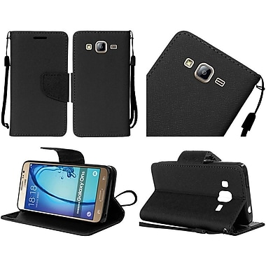 Insten Folio Leather Fabric Cover Case Lanyard w/stand For Samsung Galaxy On5 - Black