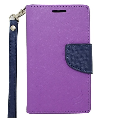 Insten Wallet Leather Case with Lanyard & Card Slot For Alcatel One Touch Evolve 2 - Purple/Blue