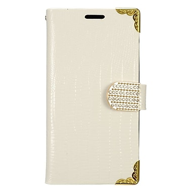 Insten Folio Leather Crocodile Skin Cover Case w/card slot/Diamond for Samsung Galaxy J3 (2016) - White/Gold