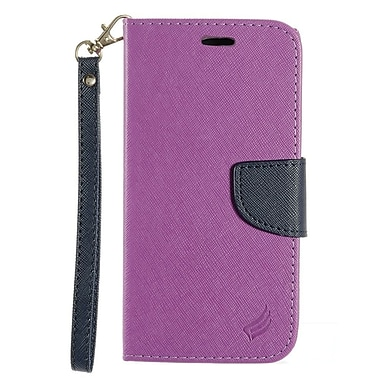 Insten Book-Style Leather Fabric Case Lanyard w/stand/card holder For HTC 10 - Purple/Dark blue