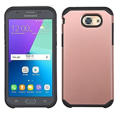 Insten Hard Dual Layer Rubber Silicone Case For Samsung Galaxy J3 (2017) - Rose Gold/Black