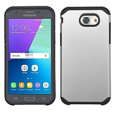 Insten Hard Hybrid Rubberized Silicone Case For Samsung Galaxy J3 (2017) - Silver/Black