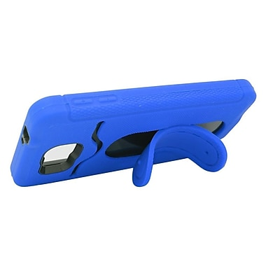 Insten Hybrid Rubber Hard Case with Stand & Card slot For Samsung Galaxy Alpha - Blue/Black