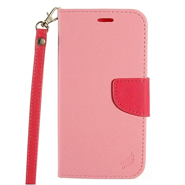 Insten Flip Leather Fabric Case Lanyard w/stand/card slot For HTC 10 - Pink/Hot Pink