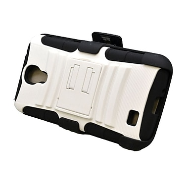 Insten Advanced Armor Hybrid Stand PC/Silicone Holster Case Cover for Samsung Galaxy S4 GT-i9500 - White/Black