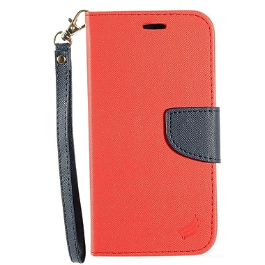Insten Flip Leather Fabric Cover Case Lanyard w/stand/card holder For HTC 10 - Red/Dark blue