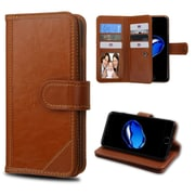 Insten Genuine leather Fabric Case w/stand/card slot/Photo Display For Apple iPhone 7/ 8, Brown