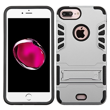 Insten Hard Dual Layer Rubberized Silicone Cover Case w/stand For Apple iPhone 7 Plus - Silver/Black