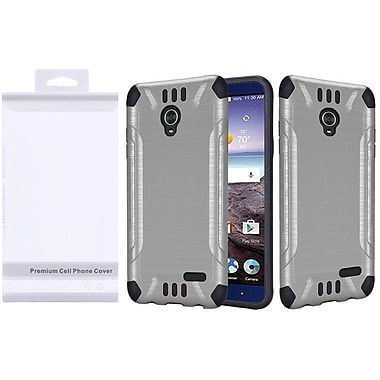 Insten Hard Hybrid Rubber Coated Silicone Cover Case For ZTE Grand X 4 - Silver