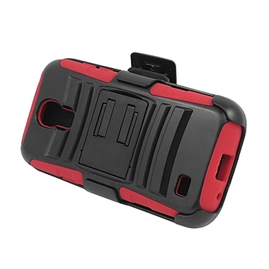 Insten Advanced Armor Hybrid Stand PC/Silicone Holster Case Cover for Samsung Galaxy S4 Mini GT-I9190 - Black/Red