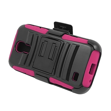 Insten Advanced Armor Hybrid Stand PC/Silicone Holster Case Cover for Samsung Galaxy S4 Mini GT-I9190 - Black/Hot Pink