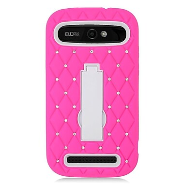 Insten Hybrid Rubber Hard Cover Stand Case with Diamond For ZTE Warp Sync - Hot Pink/White