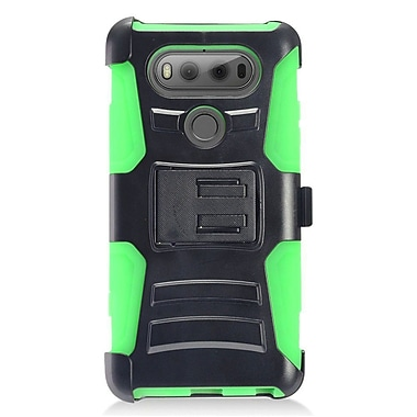 Insten Advanced Armor Dual Layer Hybrid Stand PC/Silicone Holster Case Cover for LG V20 - Black/Green
