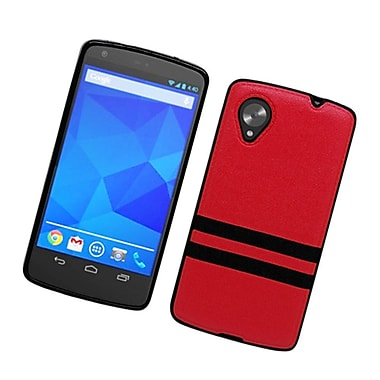 Insten Stripes PC/TPU Rubber Case Cover for LG Google Nexus 5 D820 / D821 - Red/Black