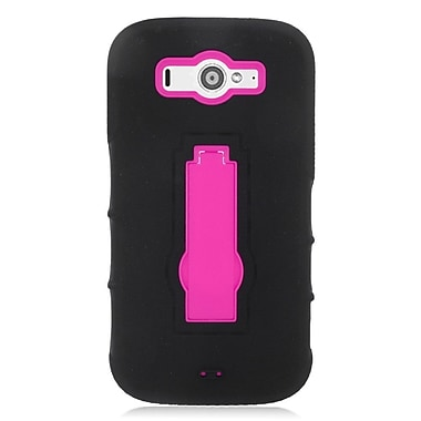 Insten Symbiosis Gel Dual Layer Rubber Hard Case with stand For ZTE Imperial II - Black/Hot Pink