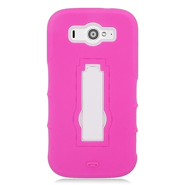 Insten Symbiosis Rubber Dual Layer Hard Case with stand For ZTE Imperial II - Hot Pink/White