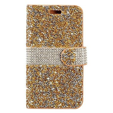 Insten Book-Style Leather Rhinestone Cover Case w/card slot For Coolpad Catalyst - Gold/Silver
