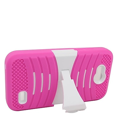 Insten Wave Symbiosis Rubber Dual Layer Hard Case with stand For ZTE Speed - Hot Pink/White