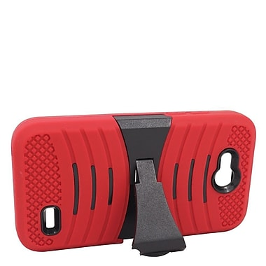 Insten Wave Symbiosis Skin Dual Layer Rubber Hard Case with stand For ZTE Speed - Red/Black