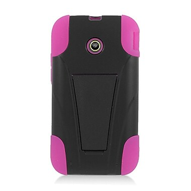 Insten Hard Hybrid Plastic Silicone Case with stand for Huawei Prism II U8686 - Black/Hot Pink