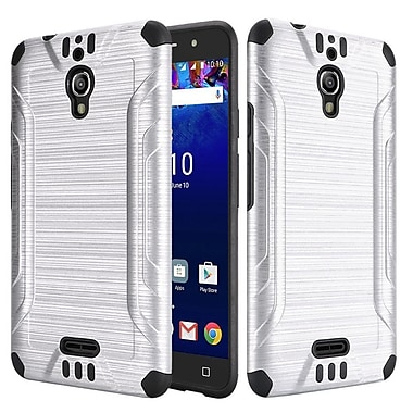 Insten Slim Armor Brushed Metal Design Hybrid Hard PC/Silicone Case For Alcatel Pixi Theatre - Silver/Black