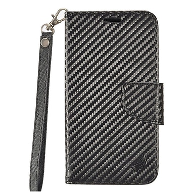 Insten Carbon Fiber Book-Style Leather Fabric Cover Case w/stand/card holder For Samsung Galaxy S7 Active - Black