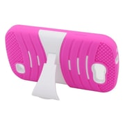 Insten Dual Layer Rubber Hard Case with stand For Samsung Galaxy Express SGH-i437 - Hot Pink/White