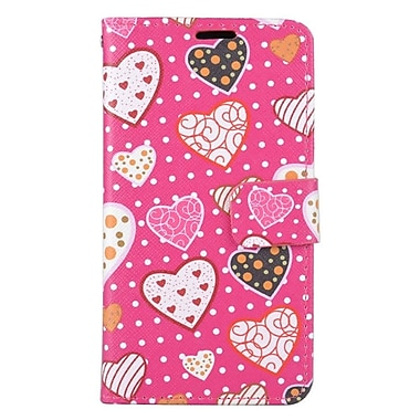 Insten Hearts Folio Leather Fabric Cover Case w/stand/card holder For Samsung Galaxy J7 (2016) - Hot Pink
