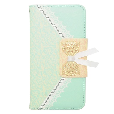 Insten Book-Style Leather Case with Card holder For Samsung Galaxy Alpha - Green/Gold