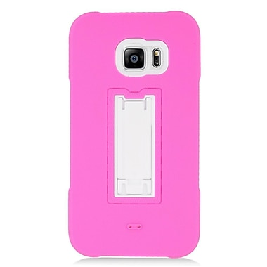 Insten Symbiosis Gel Hybrid Rubber Hard Stand Case For Samsung Galaxy S6 Edge Plus - Hot Pink/White