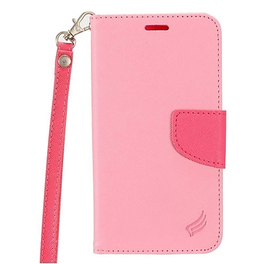 Insten Book-Style Leather Fabric Case Lanyard w/stand/card holder For Alcatel Dawn/Ideal/Streak - Pink/Hot Pink