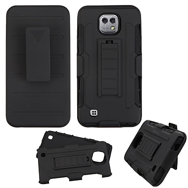 Insten Car Armor Hard Dual Layer Plastic Silicone Case w/stand/Holster For LG X Cam - Black