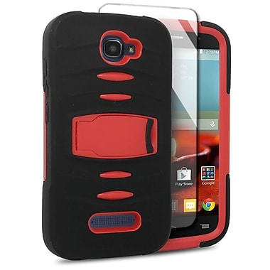Insten Skin Dual Layer Rubber Hard Case For Alcatel One Touch Fierce 2 7040T/Pop Icon - Black/Red