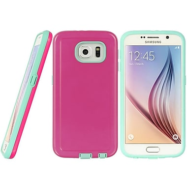 Insten Alpha Series Hybrid Dual Layer Hard PC/TPU Case Cover For Samsung Galaxy S6 - Hot Pink/Teal