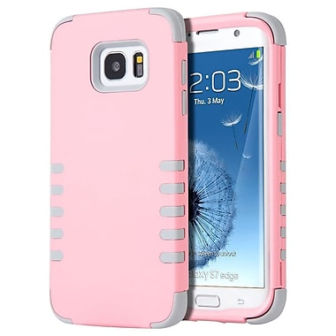 Insten 3 Pieces Hybrid Dual Layer Hard PC/Silicone Back Case For Samsung Galaxy S7 Edge - Light Pink/Gray