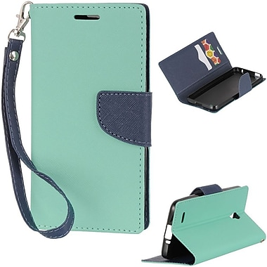 Insten Book-Style Leather Fabric Case Lanyard w/stand/card holder For Alcatel One Touch Conquest - Teal/Blue