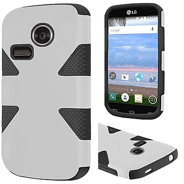 Insten Dynamic Hard Hybrid Rubber Coated Silicone Cover Case For LG Lucky/Sunrise - White/Black