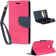 Insten Book-Style Leather Fabric Case Lanyard w/stand/card slot For Alcatel One Touch Pop Astro - Hot Pink/Blue