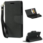 Insten Folio Leather Fabric Case Lanyard w/stand/card holder For Alcatel One Touch Pop Astro - Black