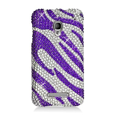 Insten Zebra Hard Rhinestone Cover Case For Alcatel One Touch Fierce - Purple/Silver
