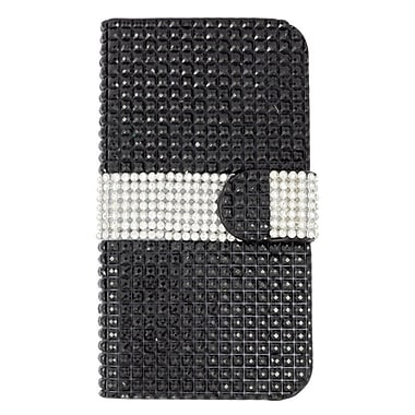 Insten Leather Wallet Bling Case with Card slot For ZTE Fanfare/Overture 2 - Black/Silver