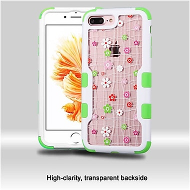 Insten Natural Frame Transparent PC Back TUFF Vivid Hybrid Dual Layer Case For Apple iPhone 7 Plus - Ivory White/Green