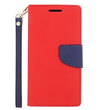 Insten Flip Leather Fabric Stand Credit Card Case Lanyard for HTC One M9 - Red/Blue