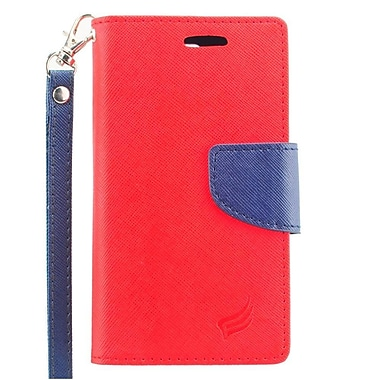 Insten Flip Leather Fabric Stand Credit Card Case Lanyard for LG Escape 2 - Red/Blue